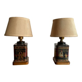 Vintage 1950's Frederick Cooper Asian Tea Tin Lamps - a Pair For Sale