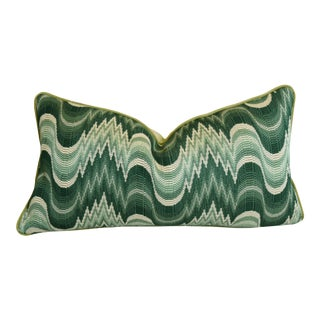 """Clarence House Green & Cream Chevron Wave Fabric Feather/Down Pillow 25"""" X 13"""""""