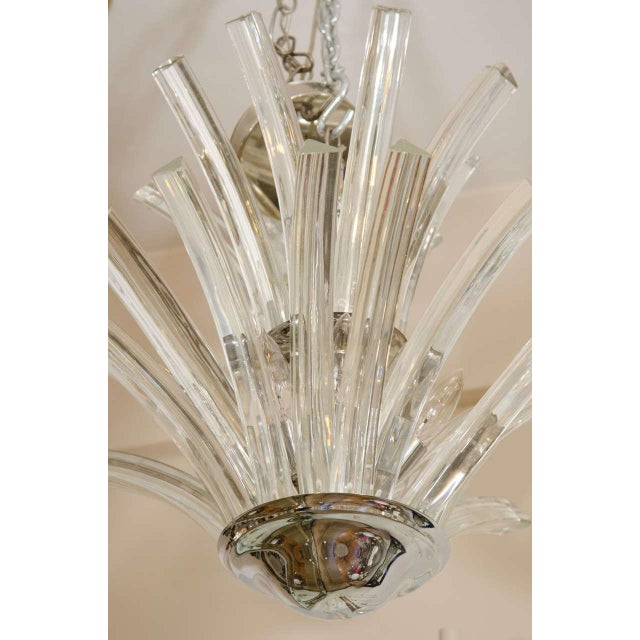Mid 20th Century 20th Century Two-Tier Murano Curved Glass Chandelier For Sale - Image 5 of 7