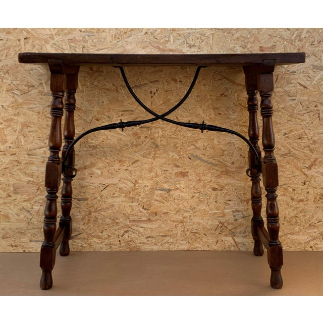 Late 19th Century 19th Spanish Console Table With Iron Stretcher and Shaped Legs, Side Table, Baroque For Sale - Image 5 of 11