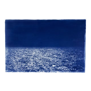 Barcelona Beach Night Horizon / 100x70cm / Cyanotype Print on Watercolor Paper / Limited Edition For Sale