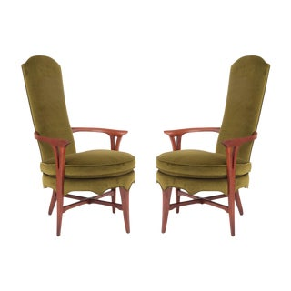 Pair of Exquisite Velvet and Walnut Italian Lounge Chairs For Sale