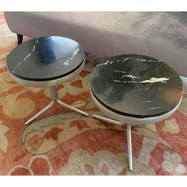 Modern Aluminum and Marble Side Tables - a Pair For Sale - Image 3 of 12