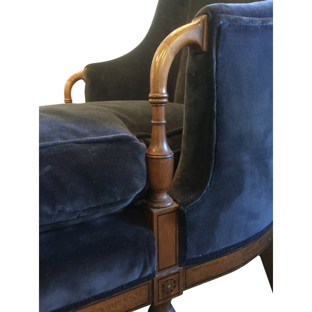 Empire-Style Charcoal Velvet Chaise - Image 2 of 3