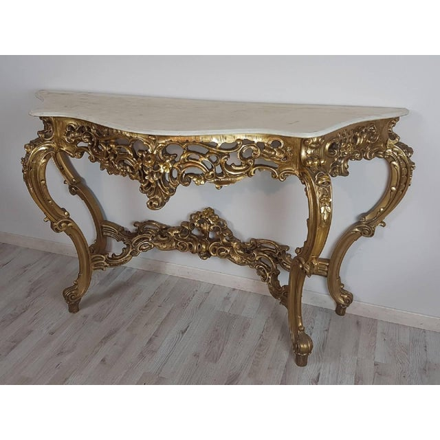 Baroque 20th Century Italian Baroque Style Carved and Gilded Wood Console Table For Sale - Image 3 of 11