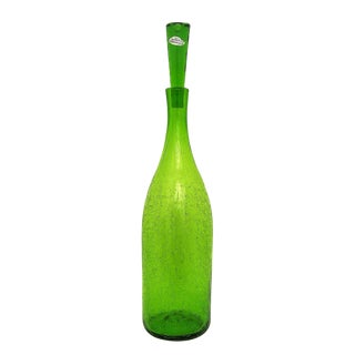 Mid-Century Modern Blenko Green Glass Decanter