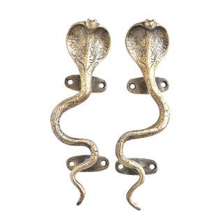 Brass Cobra Door Handles - a Pair For Sale