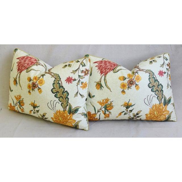 "White Schumacher Arbre Fleuri Floral & Ticking Feather/Down Pillows 22"" X 16"" - Pair For Sale - Image 8 of 13"