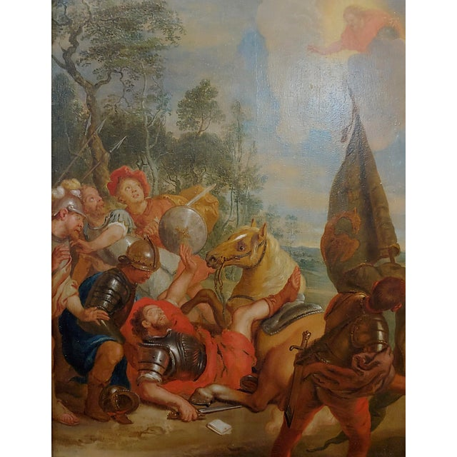 """Mediterranean 16th/17th Century Old Master """"Wounded Warrior"""" Oil Painting For Sale - Image 3 of 11"""