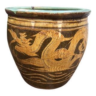 Large Asian Dragon Egg Pot Planter For Sale