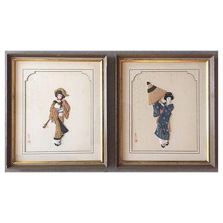Japanese Geisha Wall Plaques- A Pair For Sale