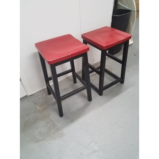 Two Vintage English Wooden Stools With Red Tops We thought these two stools were just fun. At first glance, they look like...