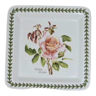 "Portmeirion Botanic Roses ""Warm Wishes"" Large Square Serving Bowl For Sale"