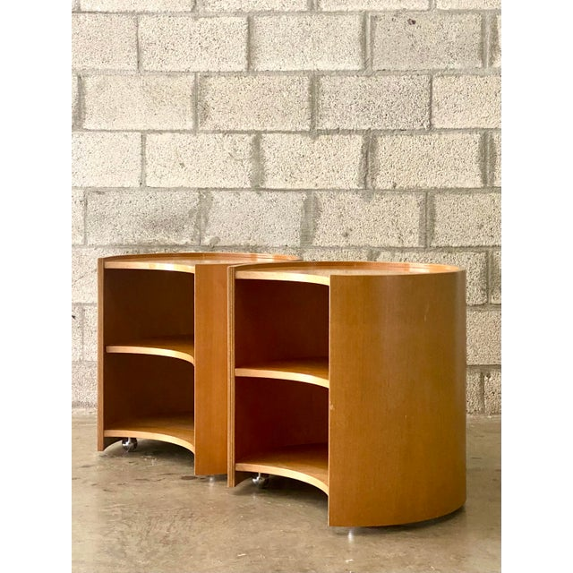 Late 20th Century Vintage Mid-Century Modern Michael Taylor for Baker Curved Nightstands - a Pair For Sale - Image 5 of 9
