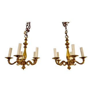 Antique Classic Solid Brass Small Sized Chandeliers - a Pair For Sale
