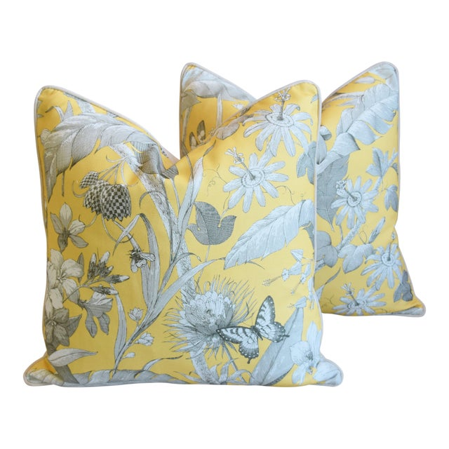 "Designer English Floral & Nature Linen/Velvet Feather & Down Pillows 24"" Square - Pair For Sale"