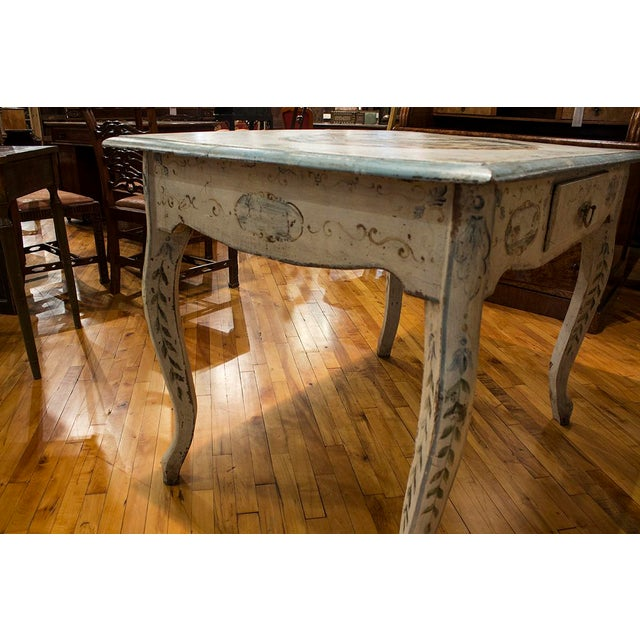 Italian 1890s Italian Hand Painted Side Table With One Drawer For Sale - Image 3 of 6