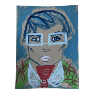 """Anastasia George """"Red Tie"""" Original Acrylic Face Painting For Sale"""