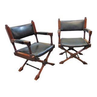 Hollywood Regency Leather Fruitwood X Base Directors Chairs - a Pair For Sale