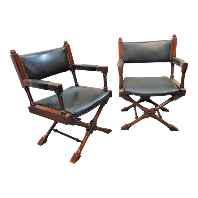 Hollywood Regency Leather X Base Fruitwood Director Chair For Sale