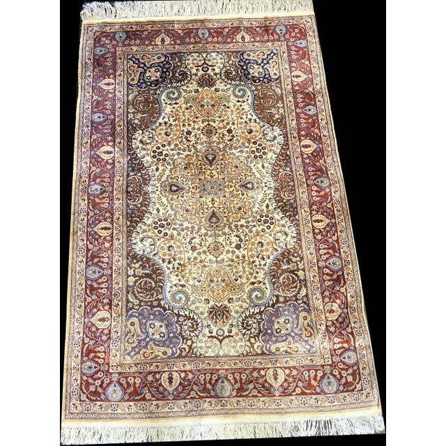 Wow, what a fantastic 100% hand knotted silk on silk foundation rug. The pattern of this rug was take from a Turkish...