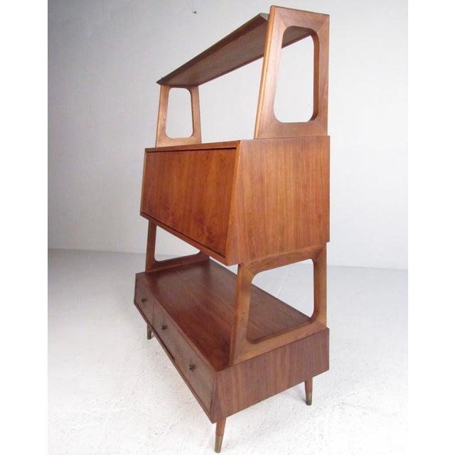 Mid-Century Modern Freestanding Vintage Walnut Bookshelf For Sale - Image 3 of 11