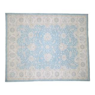 Peshawar With Oushak Design Sky Blue Hand-Knotted Rug- 8′ × 9′9″ For Sale