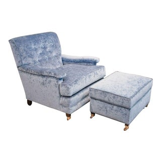 Blue Vintage Club Chair with Matching Ottoman For Sale
