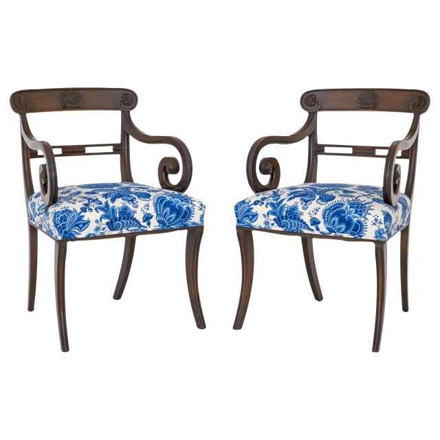 English Regency Carved Armchairs - A Pair - Image 1 of 10