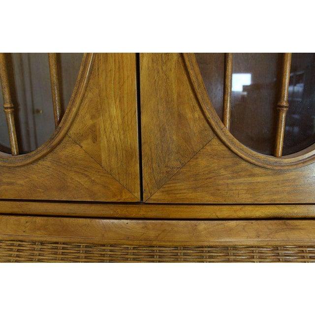 1970s Mid-Century Modern Faux Bamboo Rattan Light Fruitwood Finish Secretary Desk For Sale - Image 9 of 14