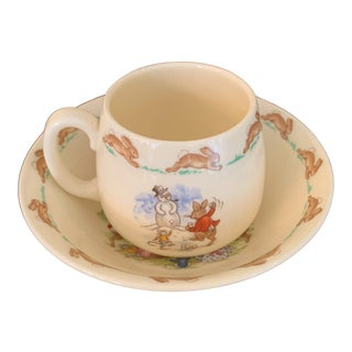 Mid 20th Century Royal Doulton English Bone China Bunnykins Children's Cup and Saucer - 2 Pieces For Sale