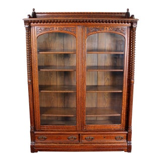 Early 20th century Oak Sliding Door Bookcase