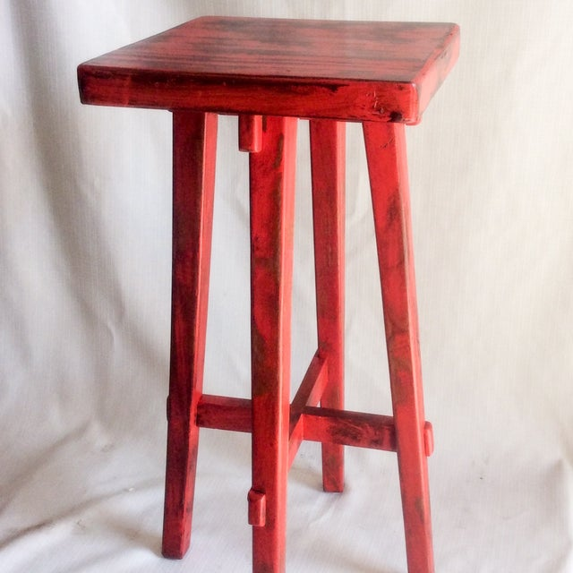 Hand Made Distressed Red Square Bar Stool - Image 3 of 9