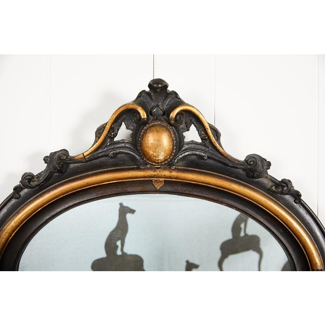 Art Deco French Ebonized and Gilded Wall Mirror, Circa 1900 For Sale - Image 3 of 11