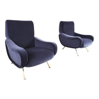 A Pair of Lady Lounge Chairs in Purple-Grey by Marco Zanuso for Arflex, 1951