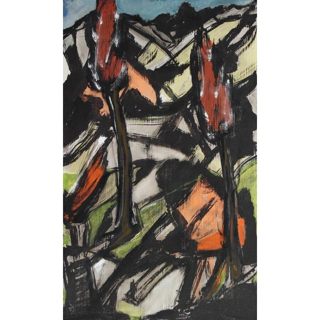 This circa 1940s-1950s paint on masonite Expressionist landscape with black is by Vienna and San Francisco/Bay Area...