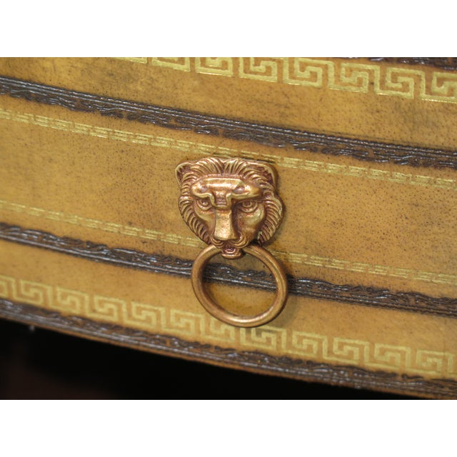 1990s Art Deco Maitland Smith Bow Front Leather Bachelor Chest For Sale - Image 11 of 13