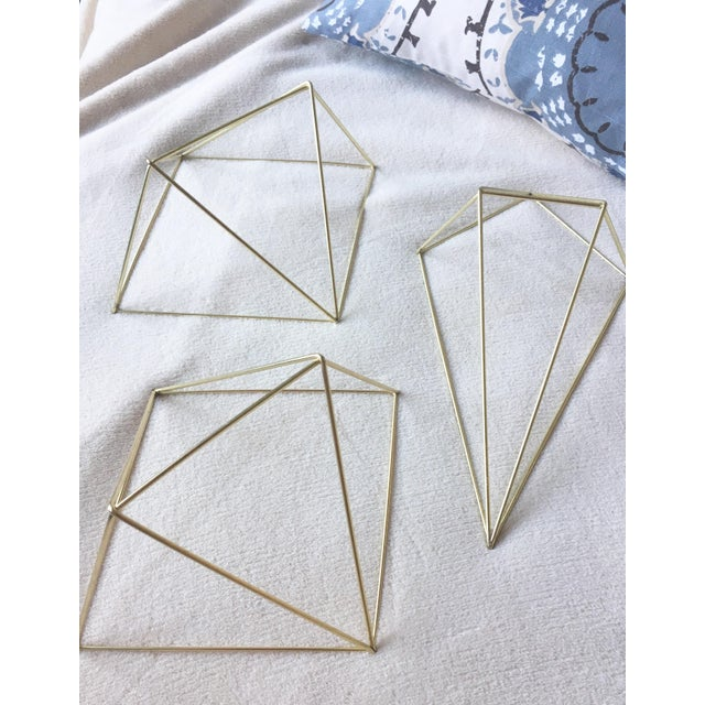 Metal Gold 3D Diamond Wall Hangings - Set of 3 - Image 4 of 6