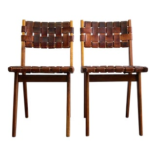 Mid Century Modern Mel Smilow Walnut and Leather Strap Chairs- A Pair For Sale