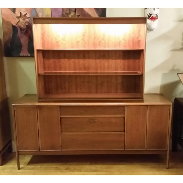 Designed by Barney Flagg for Drexel, this sideboard and lighted top is a set you will not find anywhere else. Beautiful...