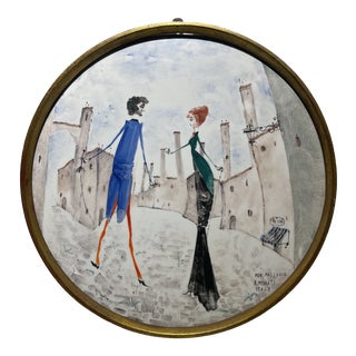 1960s Italian Hand Painted on Porcelain Wall Plaque For Sale