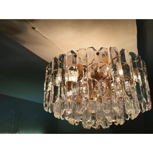 Large Palazzo Frosted Glass Chandelier by JT Kalmar, 1970s For Sale - Image 9 of 11