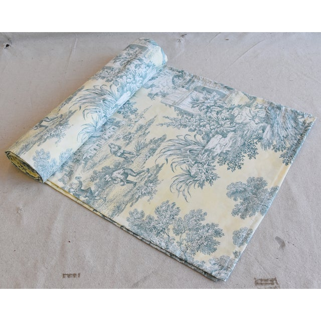 "Custom French Farmhouse Country Toile Table Runner 110"" Long For Sale - Image 9 of 9"