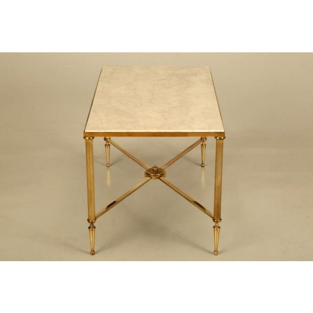 French Mid-Century Modern Brass Coffee Table For Sale - Image 4 of 10
