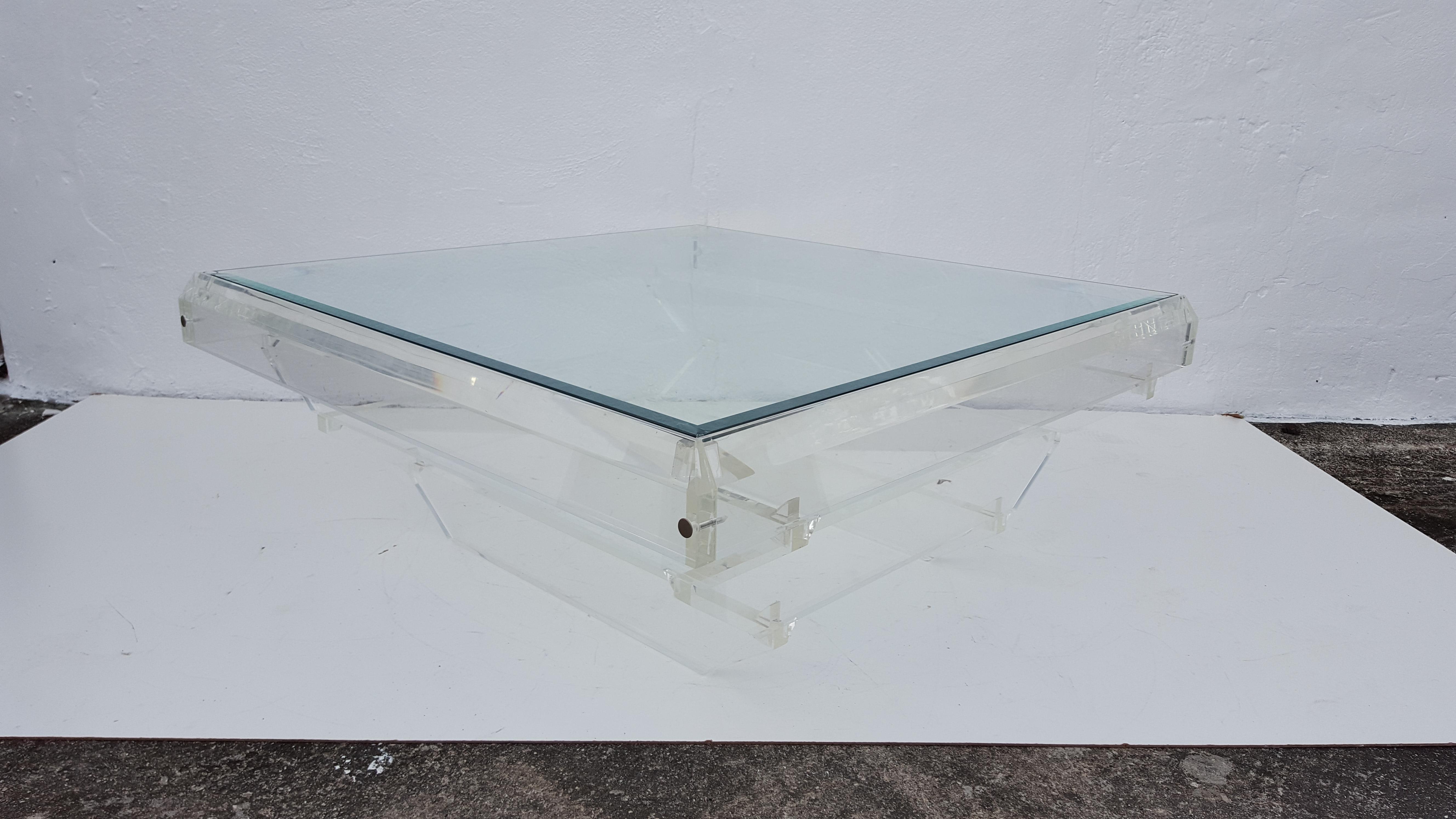 Vladimir Kagan Attribute Sculptural Spiral Top Lucite Coffee Table