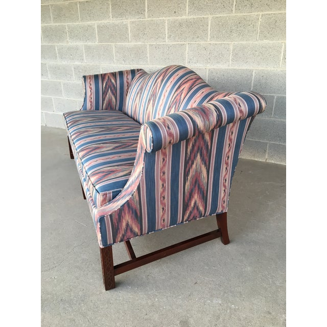 Hickory Chair Flame Stitch Chippendale Style Camel Back Sofa - Image 3 of 11