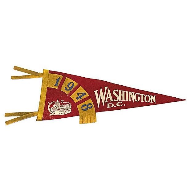 Red and Yellow Washington DC Felt Pennant For Sale - Image 4 of 4