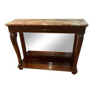 Ethan Allen Marble Top Console Table For Sale