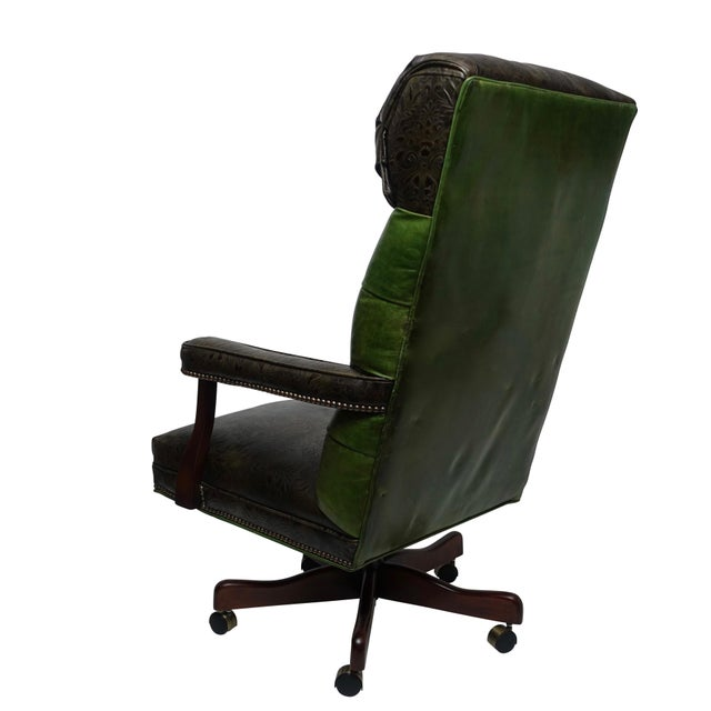 1980s Vintage Executive Leather Office Desk Chair