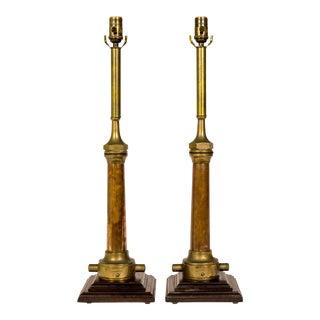 1900s Copper & Brass Victorian Fire Hose Nozzle Lamps- a Pair For Sale